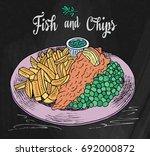 traditional english dish fish... | Shutterstock .eps vector #692000872