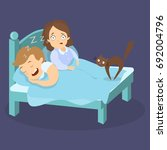 snoring husband in bed with... | Shutterstock .eps vector #692004796