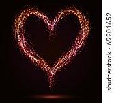 sparkling heart shape on dark... | Shutterstock .eps vector #69201652