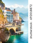 morning view of amalfi... | Shutterstock . vector #692018872