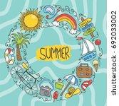 vector hand drawn doodle set... | Shutterstock .eps vector #692033002
