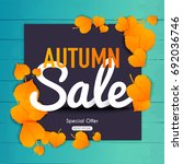 autumn sale banner with autumn... | Shutterstock .eps vector #692036746