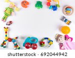 baby toys on white with copy... | Shutterstock . vector #692044942
