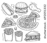 fast food doodle elements hand... | Shutterstock .eps vector #692051332