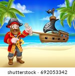 a pirate cartoon character on a ... | Shutterstock .eps vector #692053342