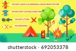 poster of campground rules with ... | Shutterstock .eps vector #692053378