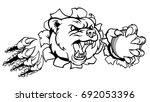 a bear angry animal sports... | Shutterstock .eps vector #692053396