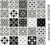 veector navy blue tiles pattern ... | Shutterstock .eps vector #692058538
