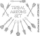 set of doodles tribal arrows... | Shutterstock . vector #692061682
