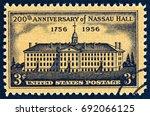 usa   circa 1956  a stamp...   Shutterstock . vector #692066125