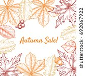 vector frame with leaves ... | Shutterstock .eps vector #692067922