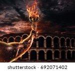 muscular man arm holding...   Shutterstock . vector #692071402