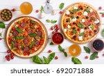 italian pizza and ingridiend... | Shutterstock . vector #692071888