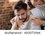 sad depressed man crying | Shutterstock . vector #692071966