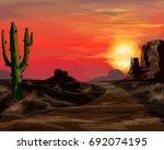 wild west sunset landscape...   Shutterstock .eps vector #692074195