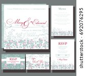 set of wedding cards with roses.... | Shutterstock .eps vector #692076295