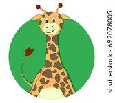 giraffe cartoon flat icon....
