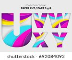 carved paper art  font design.... | Shutterstock .eps vector #692084092
