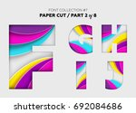 carved paper art  font design.... | Shutterstock .eps vector #692084686