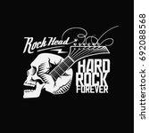 skull  guitar  rock head  hard... | Shutterstock .eps vector #692088568