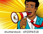 wow pop art male face. young... | Shutterstock .eps vector #692096518