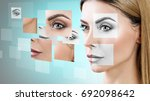woman's face collected from... | Shutterstock . vector #692098642