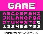 pixel retro font video computer ...   Shutterstock .eps vector #692098672