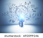 glowing lamp in abstract...   Shutterstock . vector #692099146