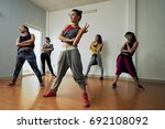 group of talented hip hop... | Shutterstock . vector #692108092