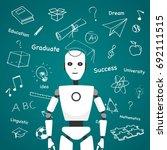 intelligent robot with... | Shutterstock .eps vector #692111515