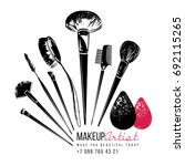 makeup brushes collection.... | Shutterstock .eps vector #692115265