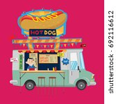 hot dog food truck | Shutterstock .eps vector #692116612