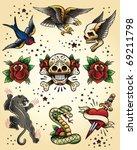 tattoo flash vector elements set | Shutterstock .eps vector #69211798