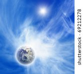 Peaceful blue sky, bright sun, white clouds, planet Earth - stock photo