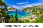 palaiokastritsa beach on corfu... | Shutterstock . vector #692127088