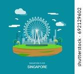 singpore flyer landmark and...   Shutterstock .eps vector #692129602