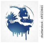 skate blue shield with skater... | Shutterstock .eps vector #69213661