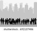 silhouette of children against... | Shutterstock .eps vector #692137486