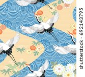 seamless pattern with birds.... | Shutterstock .eps vector #692143795