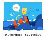 businessman drowning holding on ... | Shutterstock .eps vector #692145808