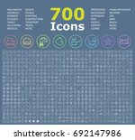set of 700 minimalistic icons... | Shutterstock .eps vector #692147986