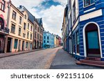 colorful cityscape of port town ... | Shutterstock . vector #692151106
