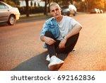 handsome american boy in jeans...   Shutterstock . vector #692162836
