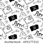 pirate pattern with jolly roger ... | Shutterstock .eps vector #692177212
