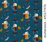 seamless oktoberfest pattern on ... | Shutterstock .eps vector #692177476