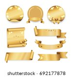 golden labels in round  square... | Shutterstock . vector #692177878