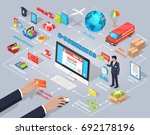 e commerce global internet... | Shutterstock . vector #692178196