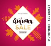 autumn gold sale poster or... | Shutterstock .eps vector #692180695