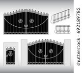 gates forged  fence | Shutterstock .eps vector #692189782