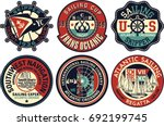yachting sailing vector badges... | Shutterstock .eps vector #692199745